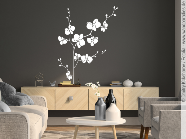 wandtattoo orchideen bl te wundersch ner aufkleber. Black Bedroom Furniture Sets. Home Design Ideas