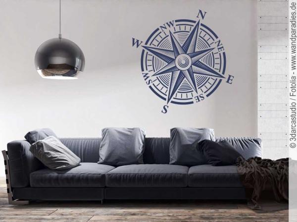 Wandsticker kompass weist ihnen immer die richtung - Wandtattoo kompass ...