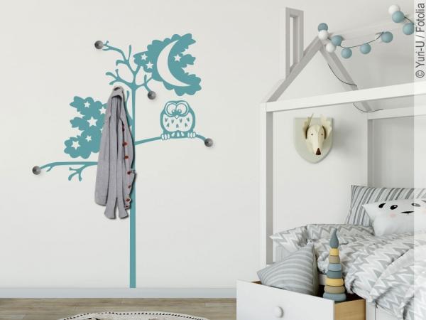 wandtattoo garderobe baum mit eule f rs kinderzimmer. Black Bedroom Furniture Sets. Home Design Ideas