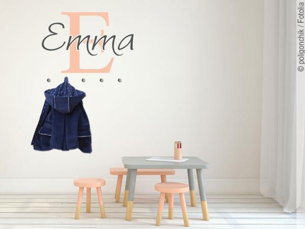 wandtattoo garderobe mit namen. Black Bedroom Furniture Sets. Home Design Ideas