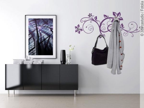 wandtattoo garderobe ornament bl ten. Black Bedroom Furniture Sets. Home Design Ideas