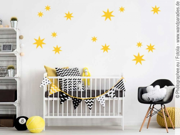 wandtattoo set sterne wanddeko f rs kinderzimmer. Black Bedroom Furniture Sets. Home Design Ideas