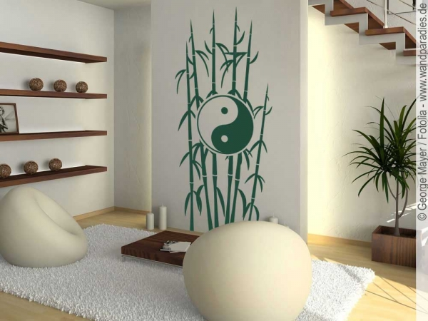 wandtattoo yin yang mit bambus wandaufkleber. Black Bedroom Furniture Sets. Home Design Ideas