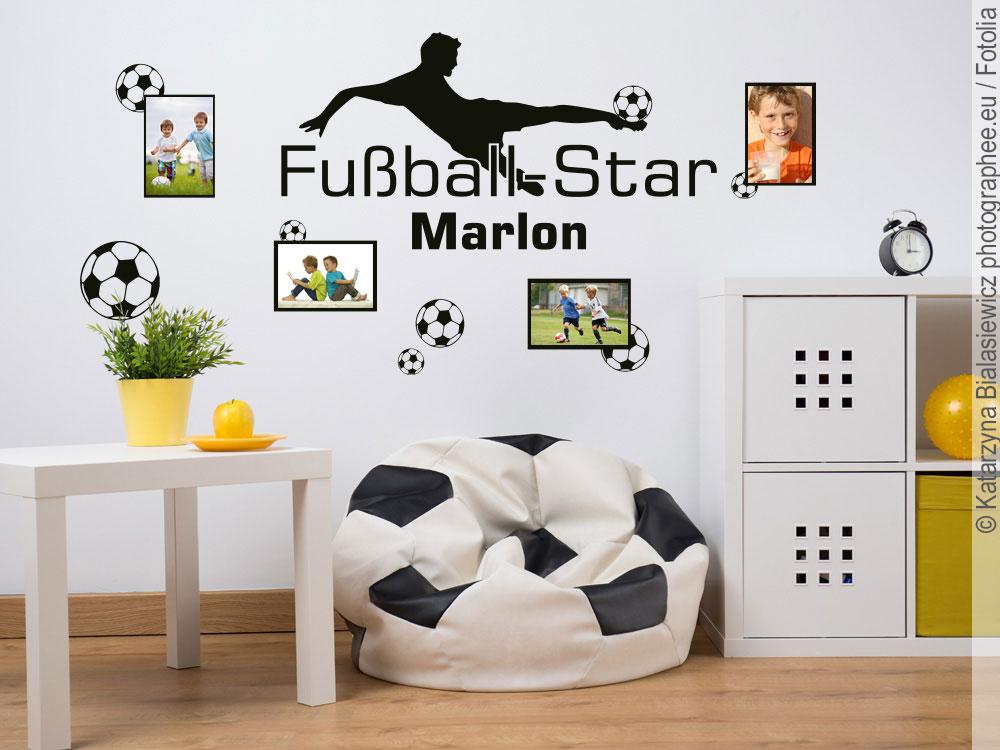 wandtattoo bilderrahmen fu ball wunschtextaufkleber. Black Bedroom Furniture Sets. Home Design Ideas