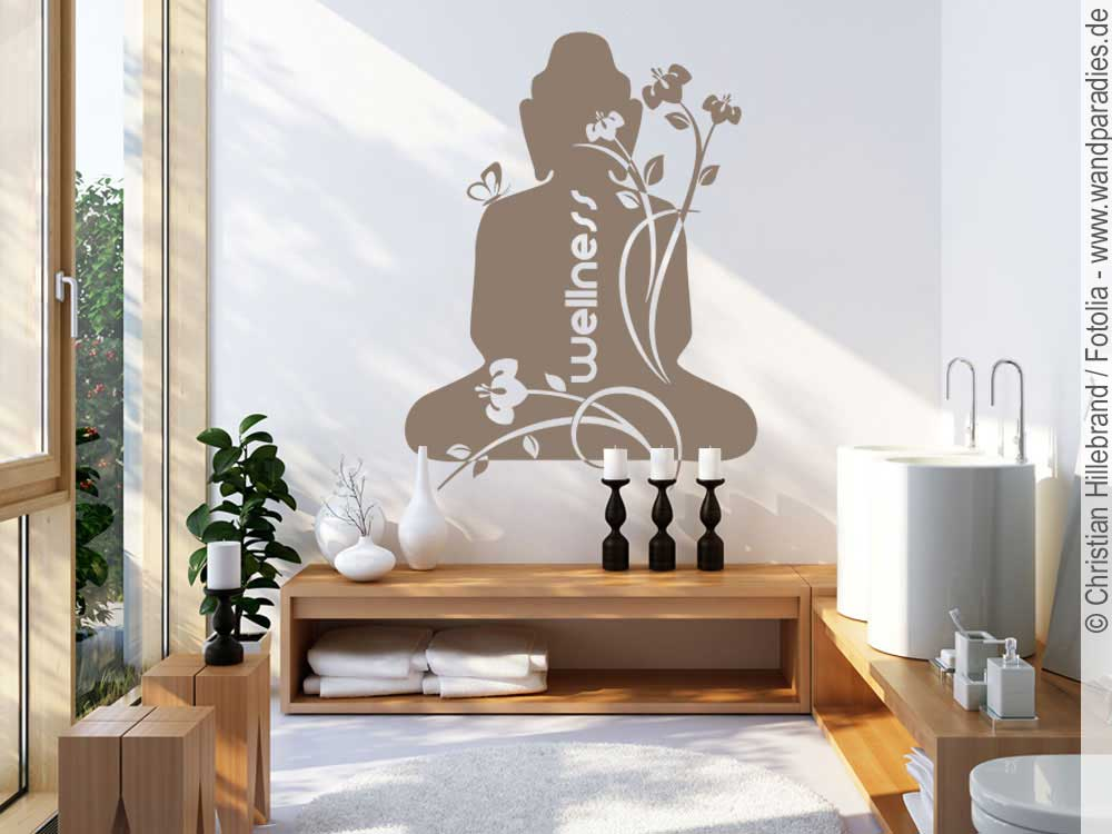 wandtattoo buddha zur wandgestaltung im badezimmer. Black Bedroom Furniture Sets. Home Design Ideas