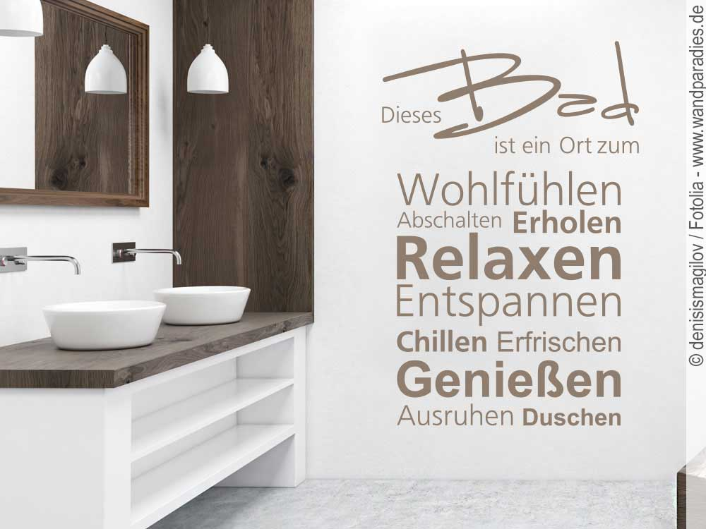 Wandtattoo Mit Wortwolke Dieses Bad Für Das Badezimmer