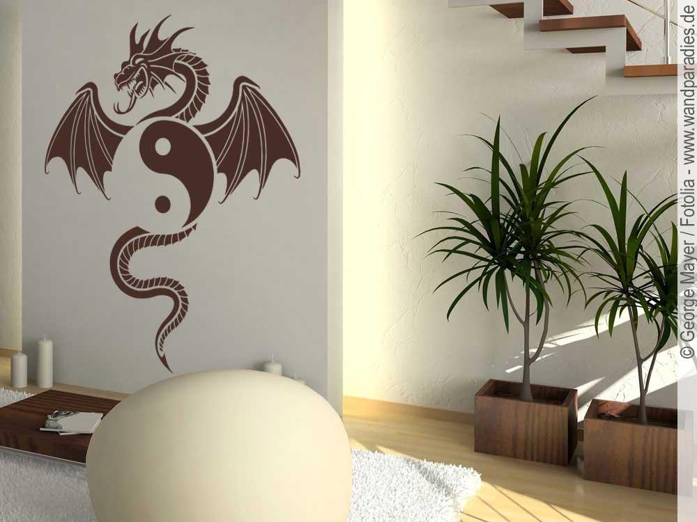 wandtattoo drache yin yang fern stliche wanddeko. Black Bedroom Furniture Sets. Home Design Ideas