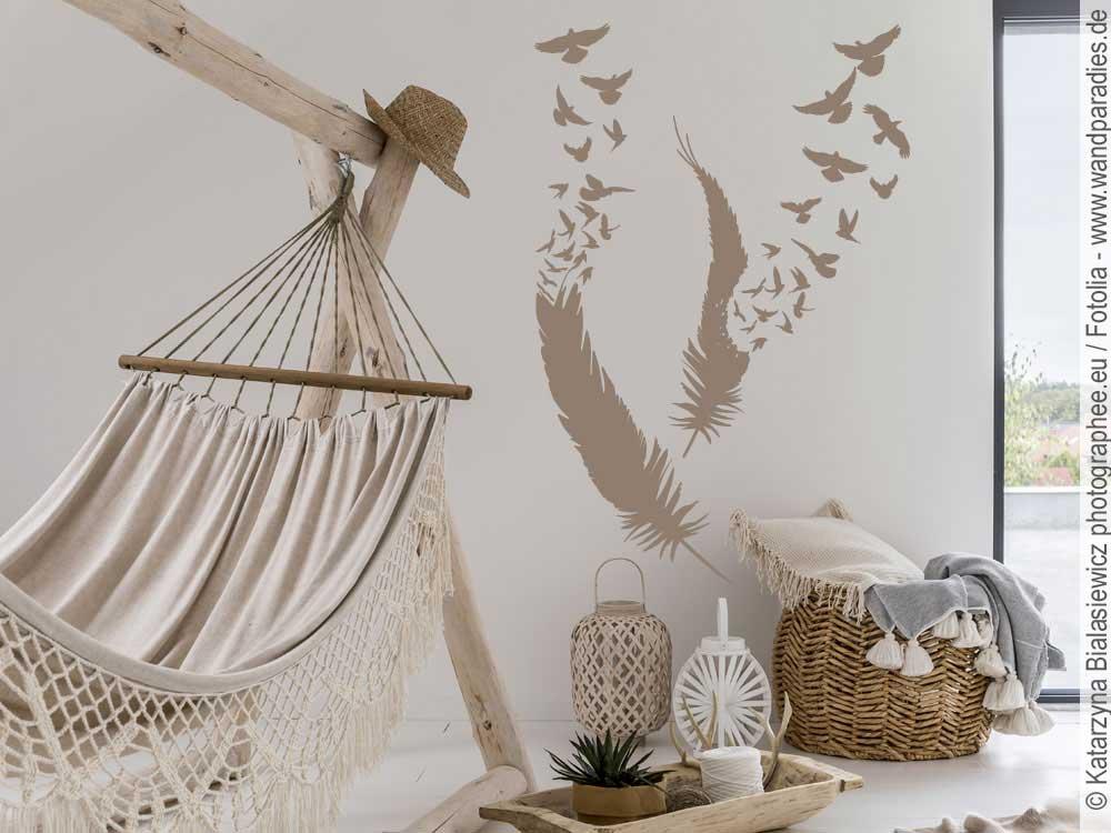 wandtattoo feder mit vogelschwarm zur wanddekoration. Black Bedroom Furniture Sets. Home Design Ideas