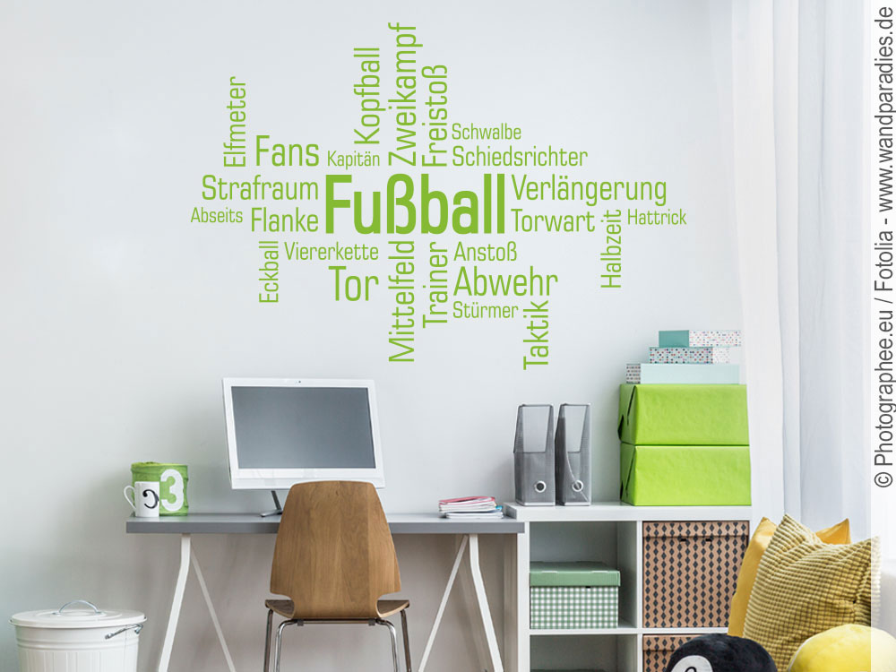 wandtattoo fussball tolle wortwolke f r fu ballfans. Black Bedroom Furniture Sets. Home Design Ideas