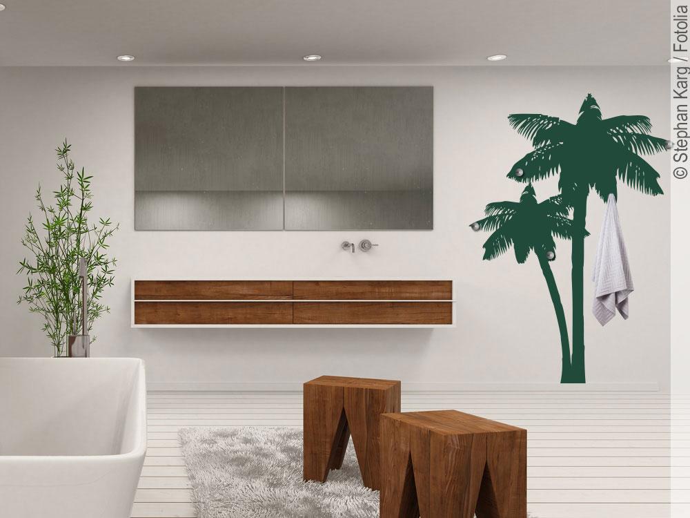 Wandtattoo Garderobe Palme für Bad und Wohnbereich