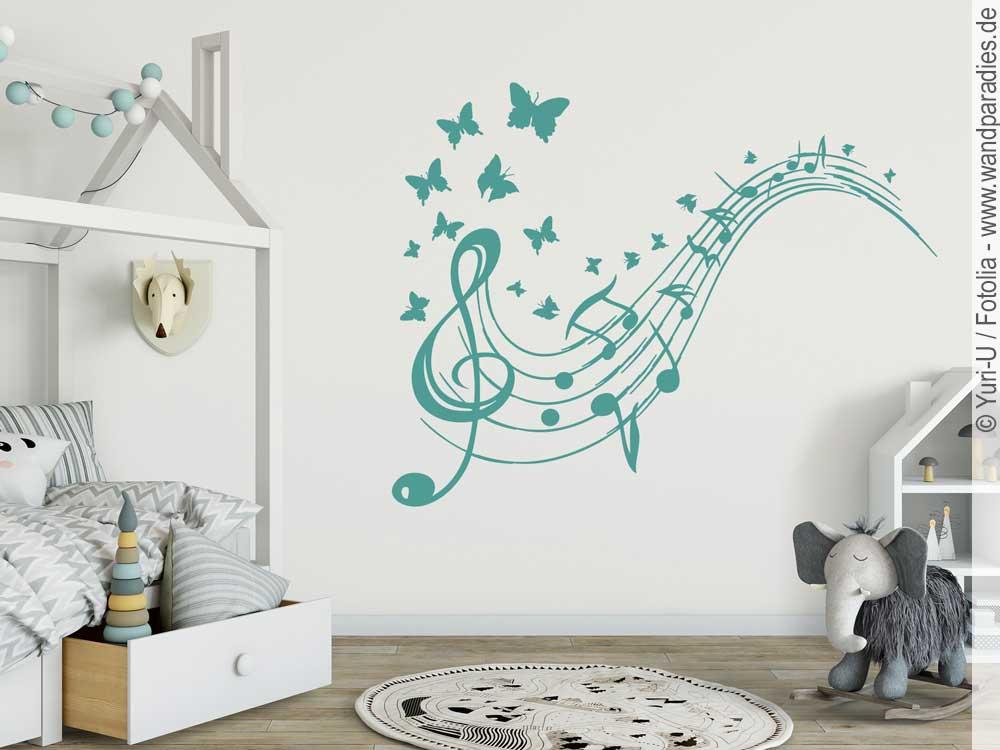 Wandtattoo Notenschlüssel Mit Schmetterlingen Für Kinderzimmer