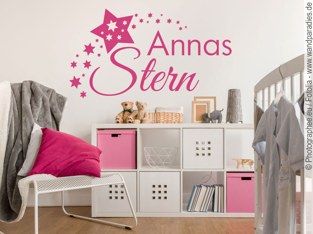 wandtattoo stern mit namen. Black Bedroom Furniture Sets. Home Design Ideas