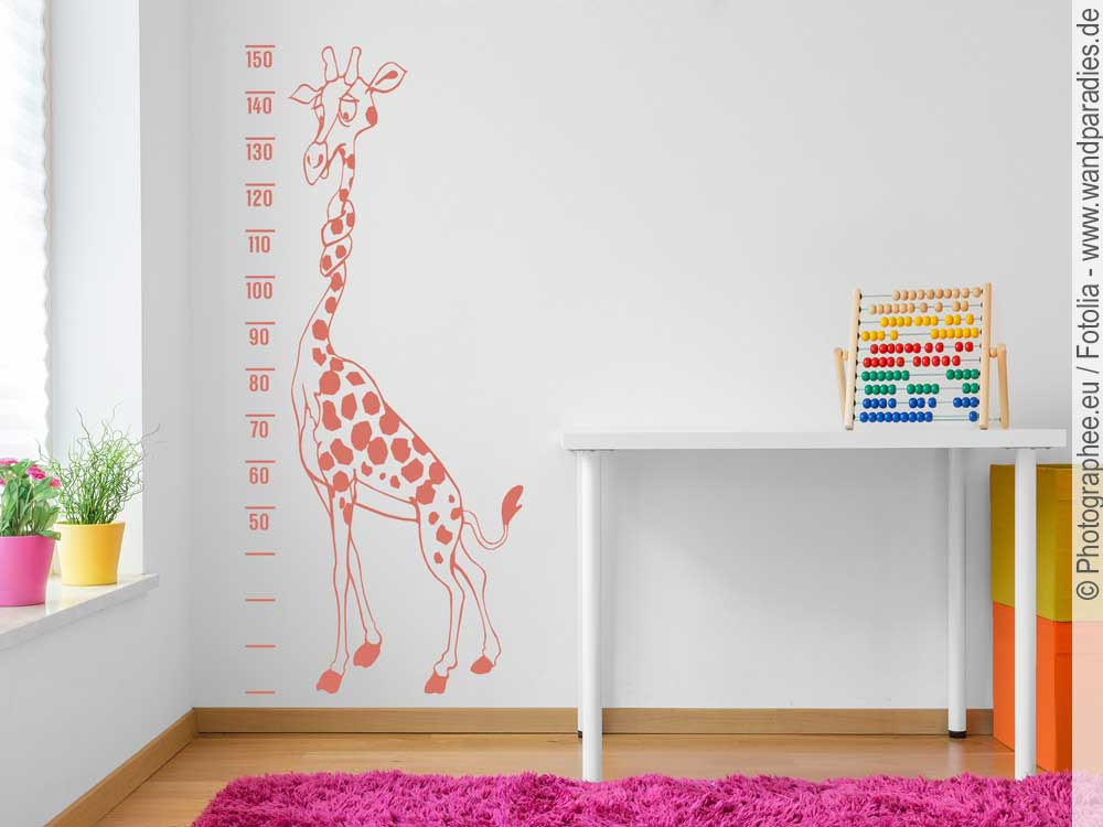 wandtattoo wandmeter giraffe f r kinderzimmer. Black Bedroom Furniture Sets. Home Design Ideas