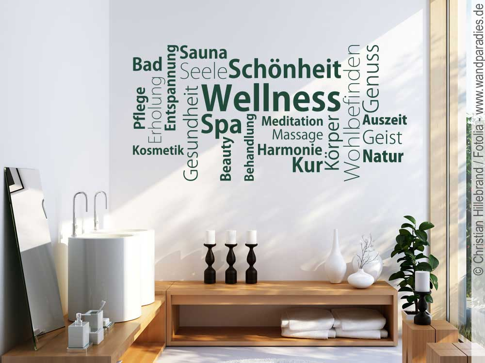 Wandtattoo wortwolke wellness - Wandtattoo wellness ...