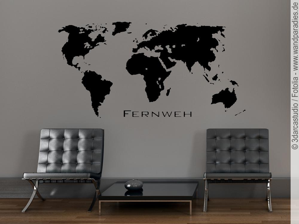 wandtattoo weltkarte fernweh wandsticker welt. Black Bedroom Furniture Sets. Home Design Ideas