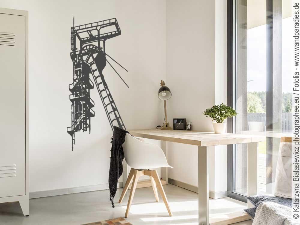 wandtattoo bergbau f rderturm sticker f r die wand. Black Bedroom Furniture Sets. Home Design Ideas