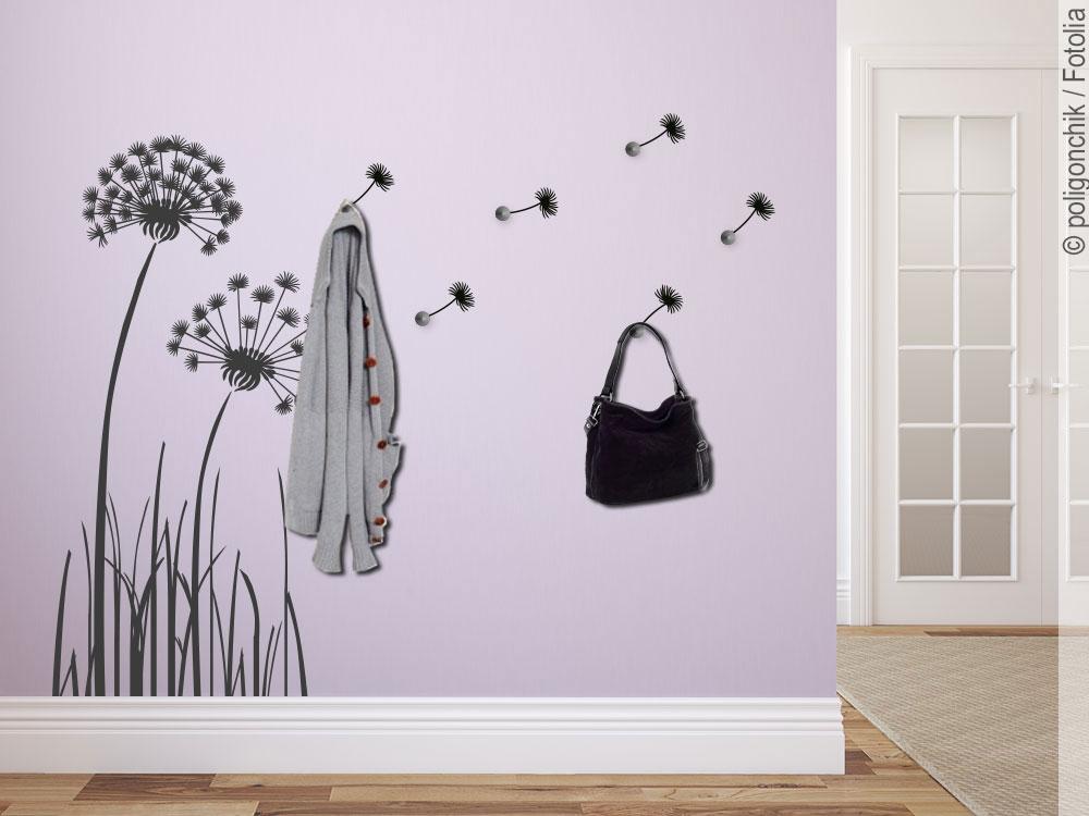 Wandtattoo garderobe pusteblume f r den eingangsbereich for Wandtattoo flur